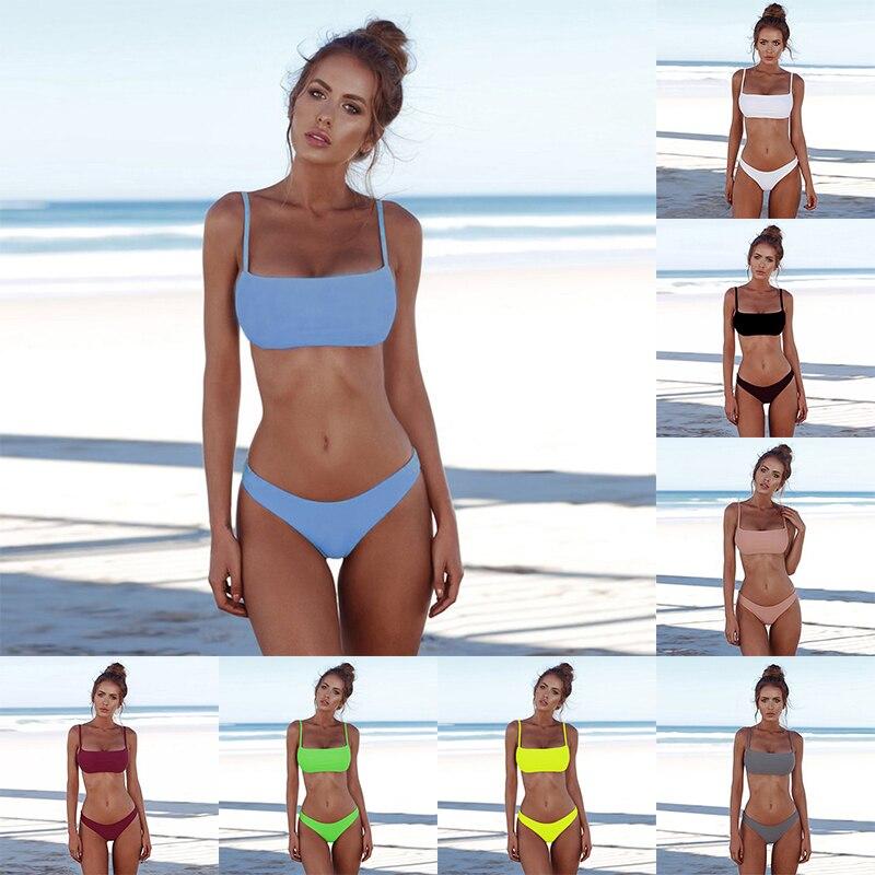 Sexy Bikini Female Swimsuit Swimwear Women Plus Size Bikini Set Solid Two-Piece Suits Swimsuit 2020 Summer Beach Bathing Suit XL