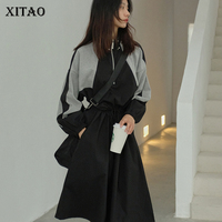 XITAO Autumn Black Splice Midi Dress Plus Size Women Hit Color Vintage Drawstring Long Sleeve Stand Collar 2019 New ZLL1946