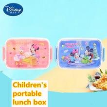 Disney mickey minnie square desenhos animados lancheira dois compartimentos crianças caixa de frescura criança piquenique selado lancheira