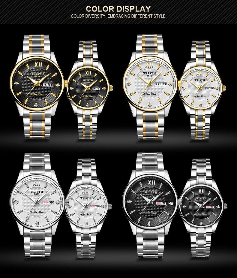 WLISTH Couple WatchMens Watches Fashion Casual Quartz Watch Women Clock Ladies Dress Wristwatch Top Brand Luxury Lovers Watch