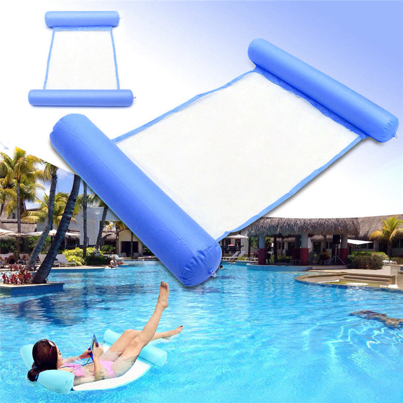 Summer Swimming Pool Water Hammock Floating Chair Floating Bed PVC Swimming Water Lounge Chair Blue