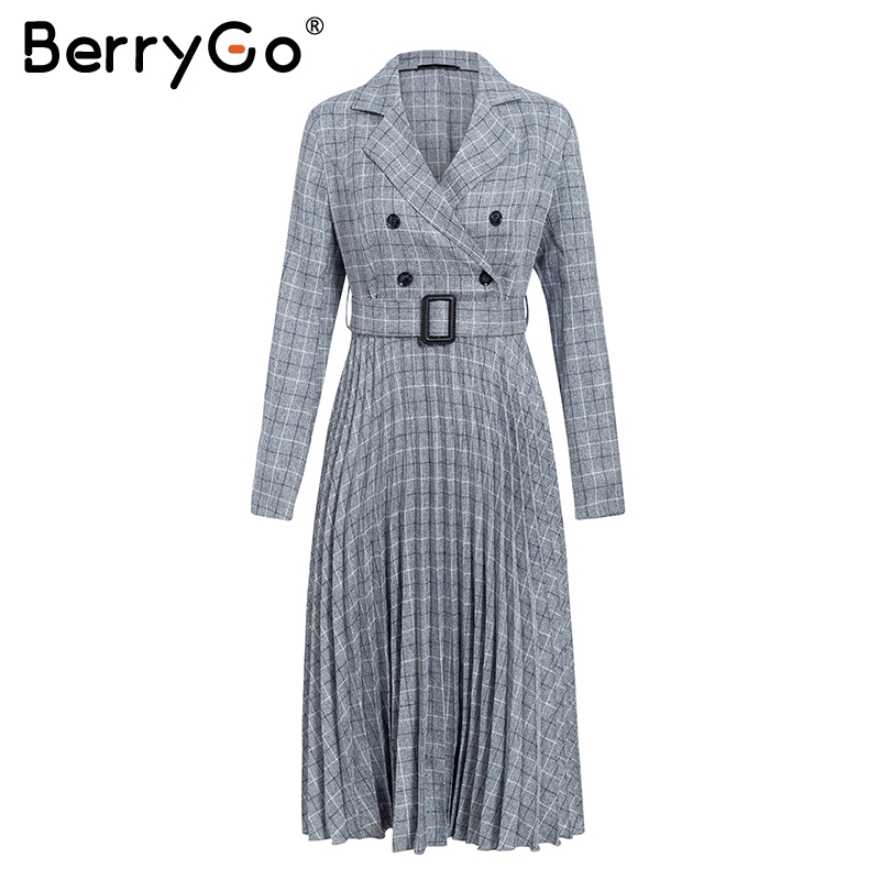 BerryGo Autumn winter women blazer dresses vestidos Pleated plaid long dress elegant Office ladies high waist belt female robe 8