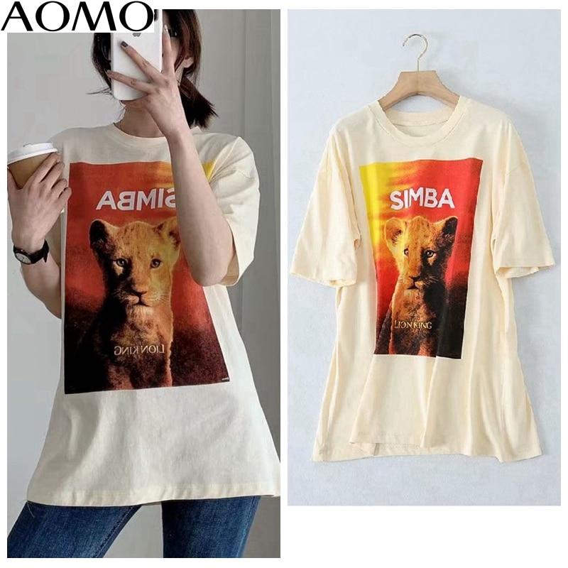 AOMO 2020 Women Oversized Cute Print Beige Cotton T Shirt Short Sleeve 2020 Summer Tees Ladies Casual Top 5B17A