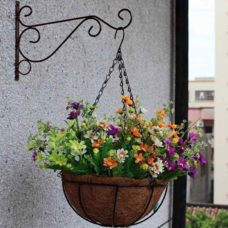 Hanging Basket Corner Bracket Wrought Iron European Modern Flower Basket Rack