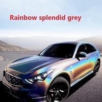 2pcs 50*150cm Beautiful Rainbow Splendid Grey Car Body Protective Film Color Change Vinyl Wrap for Styling Sticker