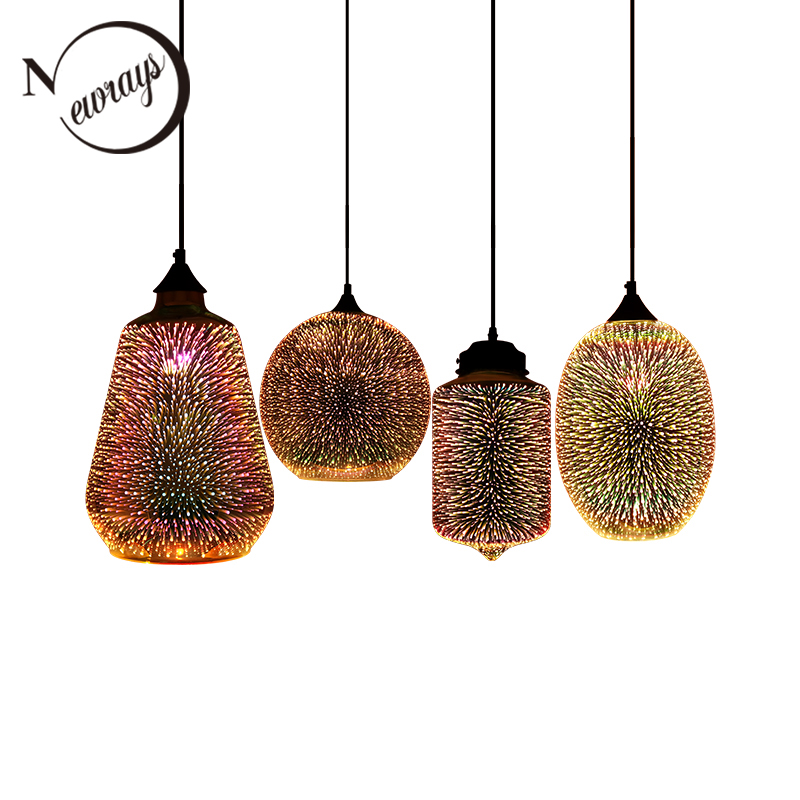 Modern 3D Colorful Romantic Starry Sky Hanging Glass Shade Pendant Lamp Lights Fixture E27 For Bedroom Restaurant Living Room