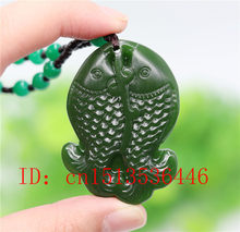 Chinese Green Jade Double Fish Pendant Necklace Fashion Accessories Jewelry Carved Amulet Luck Gifts Women Sweater Chain(China)