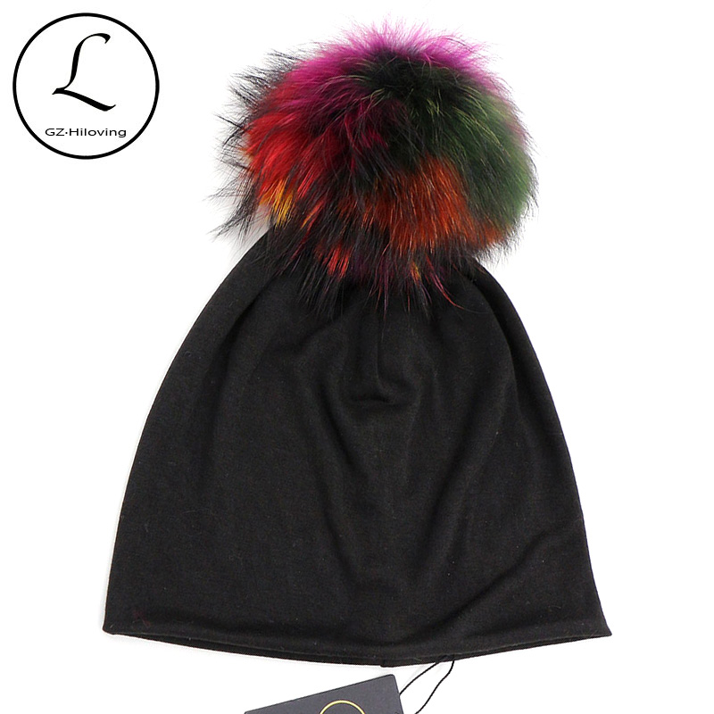 GZHILOVINGL Otoño Invierno Color sólido Skullies y gorros Mujeres Ins Hot Slouchy Womens Beanies Hat Color Fur Pom Pom Hat