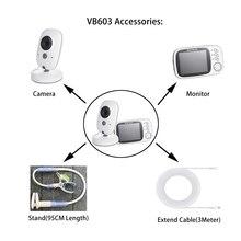 Akcesoria: 3.2 cal bezprzewodowy Monitor kolorowy niania elektroniczna Baby Monitor dla dzieci, niania kamera ochrony stojak 3M przewód USB Mini dla VB603,VB605