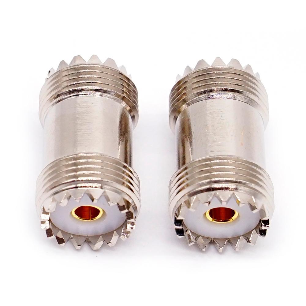 2 pces uhf PL-259 so-239 fêmea à placa reta do níquel do adaptador do conector de jack rf fêmea da frequência ultraelevada