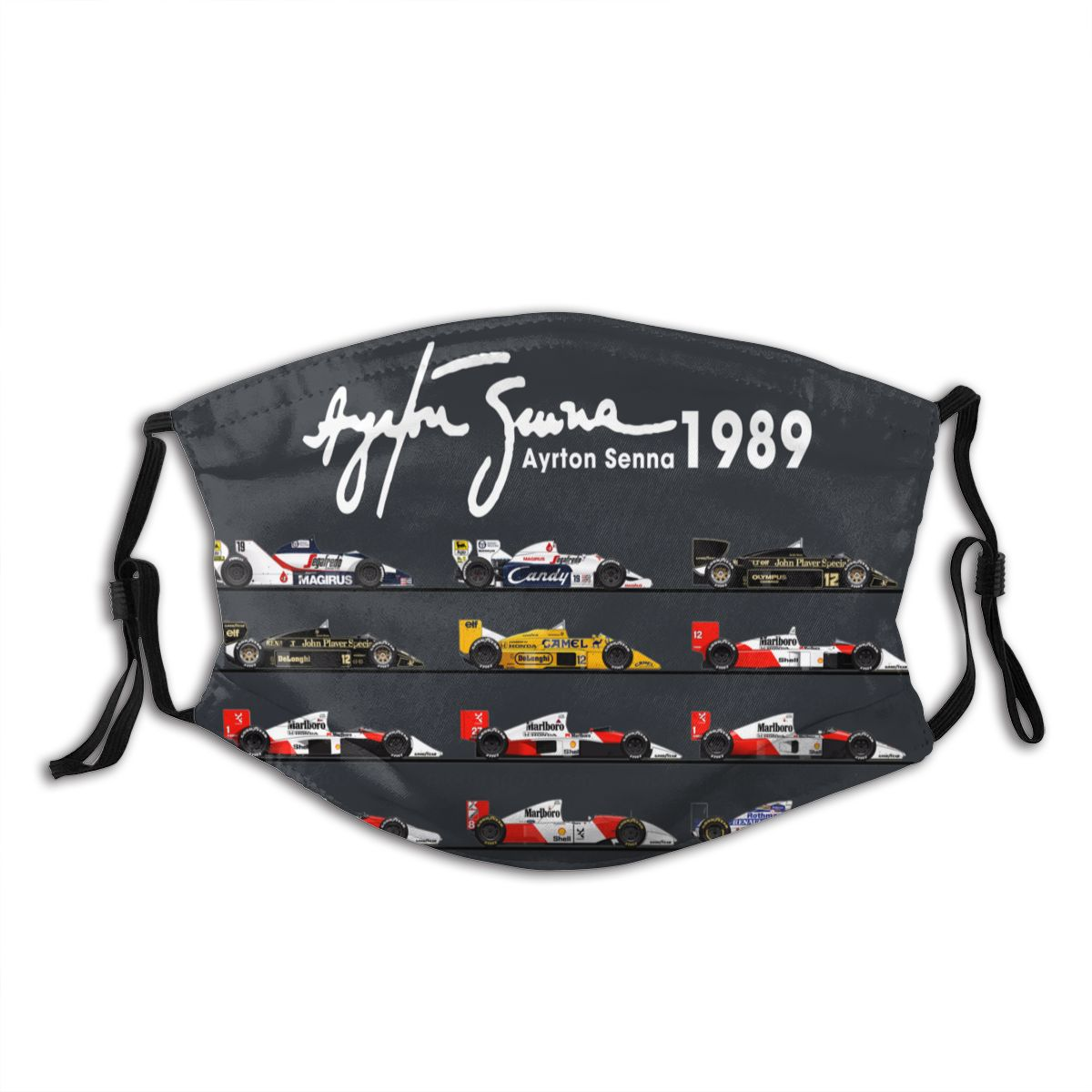 Ayton Senna Formula Racing Car Reusable Mouth Face Mask Anti Haze Dustproof Mask Protection Cover Respirator Mouth Muffle