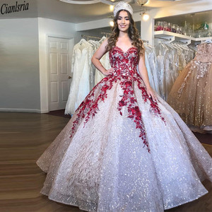 Image 1 - Bling Bling Sequin Ball Gown Quinceanera Dresses Sweetheart Red Lace Appliques Beaded Sweet 15 Dress Corset Back Pageant Gown