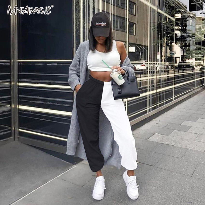 Mnealways18 Casual High Waist Trousers Black White Patchwork Joggers Color Block Loose Ladies Sweatpants Women Autumn Pants 2020