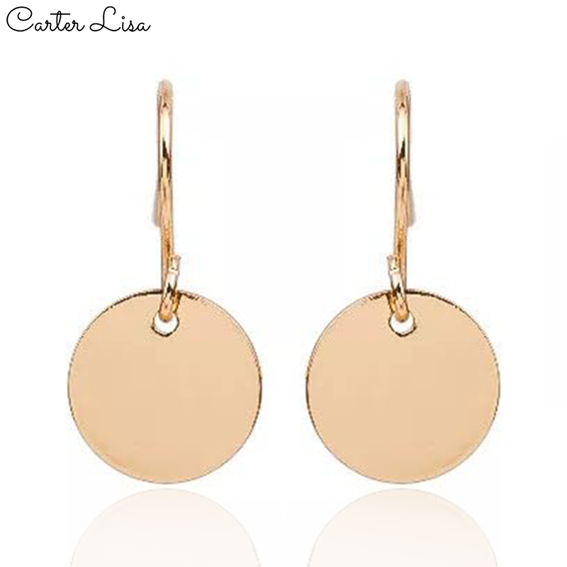 CARTER LISA New 2019 Personality Minimalist Geometric Metal Mini-disc Round Earrings Jewelry Wholesale And Retail Women's Gifts