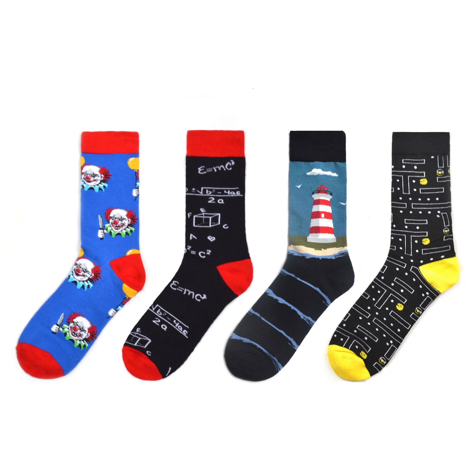 Cool Creative Funny Hip Hop Men's Cotton Crew Socks Funny Colorful Fashion Skateboard Socks Novelty Street Wear For Wedding Gift