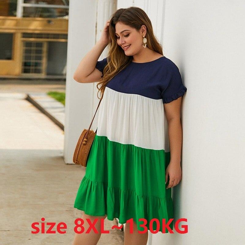 Women Casual Dressess Plus Size 6XL 7XL 8XL O Neck Short Sleeve Patchwork Tassel Loose Cotton Dresses Ladies Casual Large Dress(China)