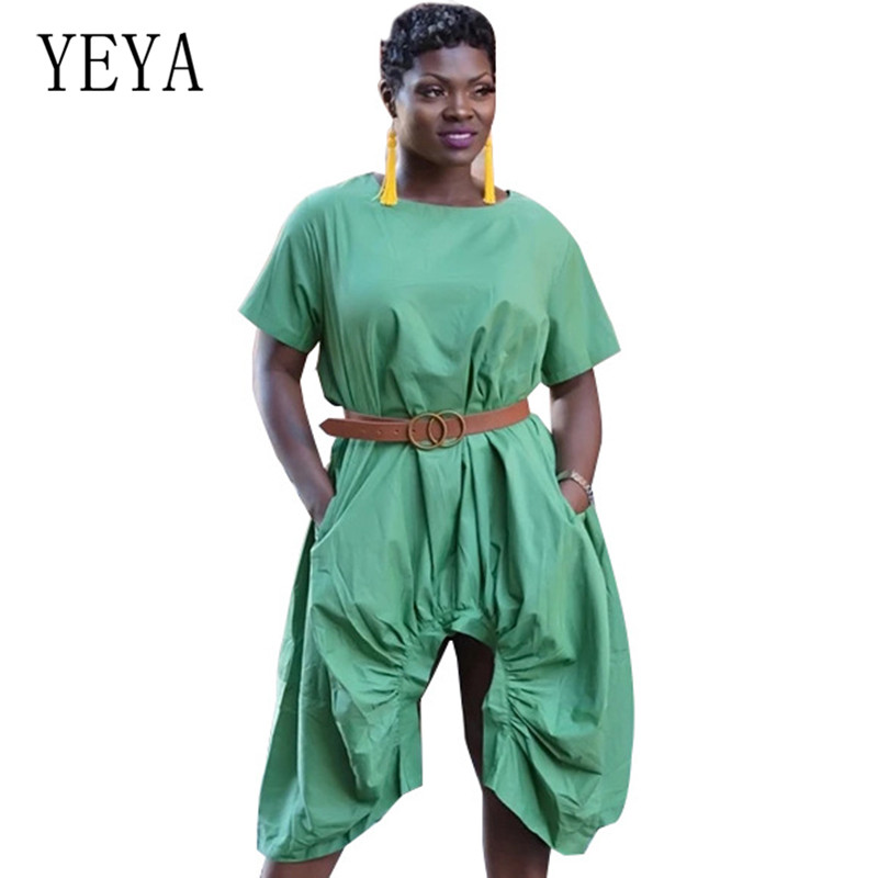 YEYA Summer New Personality Folds Irregular Dress Elegant Hollow Out Casual High Street Go Women Leisure Dresses Ropa Mujer