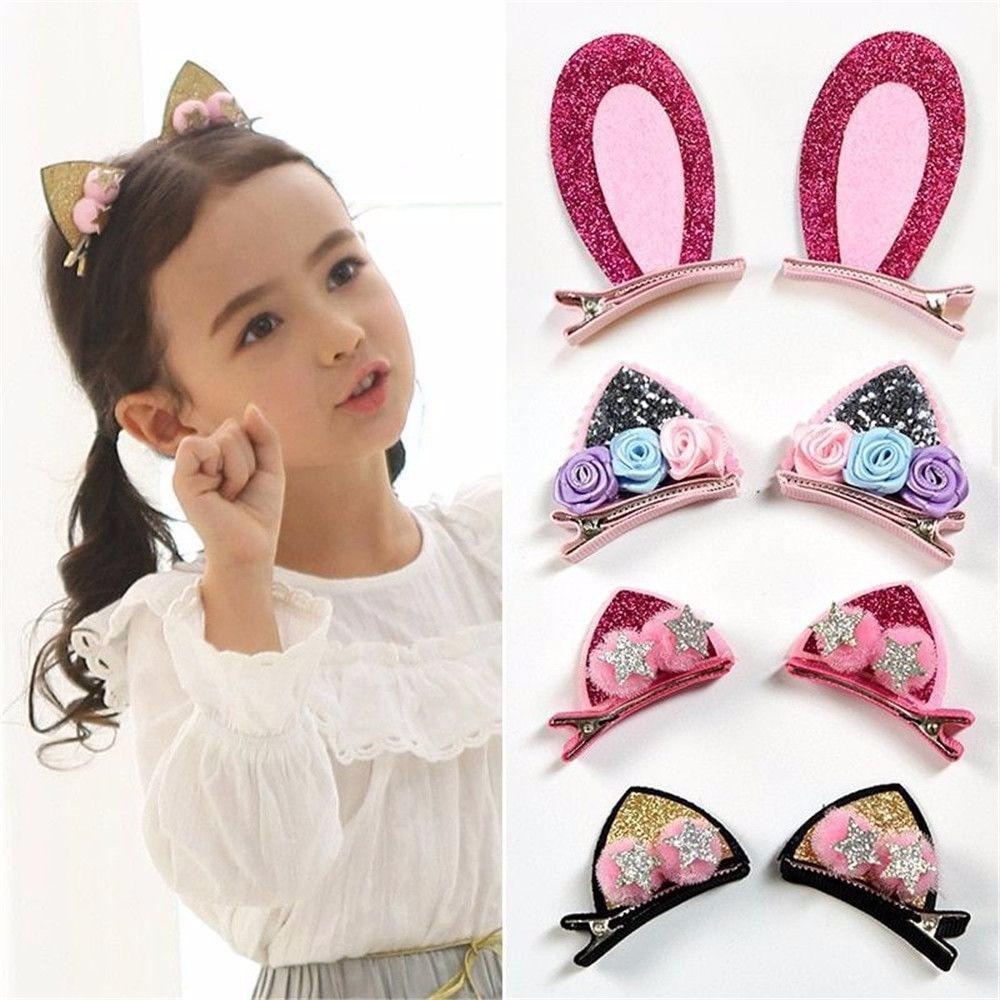2 sztuk/zestaw śliczne spinki do włosów dla dziewczynek brokat Rainbow Rabbite ucha kwiaty spinki kot uszy Bunny Barrettes dziecięce akcesoria do włosów