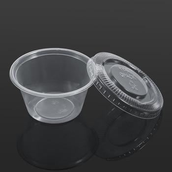 50 шт./компл. одноразовые соус чатни чашки коробки с крышкой Еда вынос пластиковые ящики для хранения Еда контейнер 1/2/3/4 унции