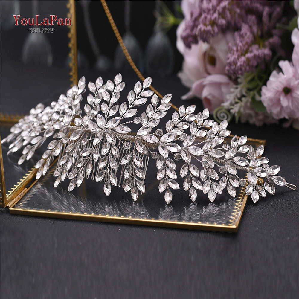 TOPQUEEN Wedding Crown Elegant Hair Accessories Rhinestone Bridal Hair Clips Silver Diamond Wedding Comb Hair Pins HP311