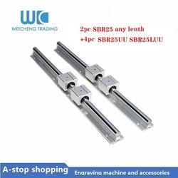 SBR25 lineaire rail 25mm SBR25 lengte 700 750 mm 1 set: 2 stuks lineaire gids SBR25 + 4 stuks SBR25UU SBR25LUU blokken voor CNC