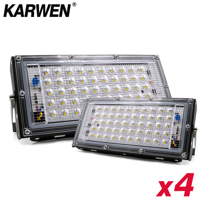 4PCS LED Flood Light 50W AC 220V 240V Spotlight Led Reflector Cast Light Floodlights IP65 Waterproof LED Street Lamp