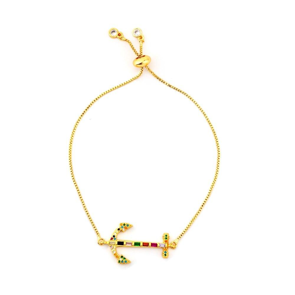 Горячее золото циркония браслет и браслет женский Радужное покрытие браслет Роскошный Регулируемый сердце злой глаз змея цепь браслет - Окраска металла: BRB60-C