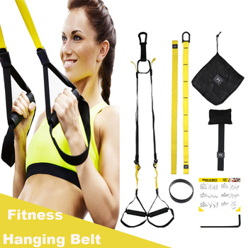 Resistance Band Suspension Trainer Hanging Belt Full Body Workout Pull Rope Straps Fitness Trainer Home Gym Exercise new pilates suspension elastic sling practice pull rope bungee home workout trainer cord resistance hang training straps