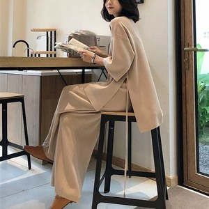 Image 4 - Women Autumn Knitted Tracksuit V neck Knitted Pullover Women Suit Clothing Loose Sweater Wide Leg Pants Suit