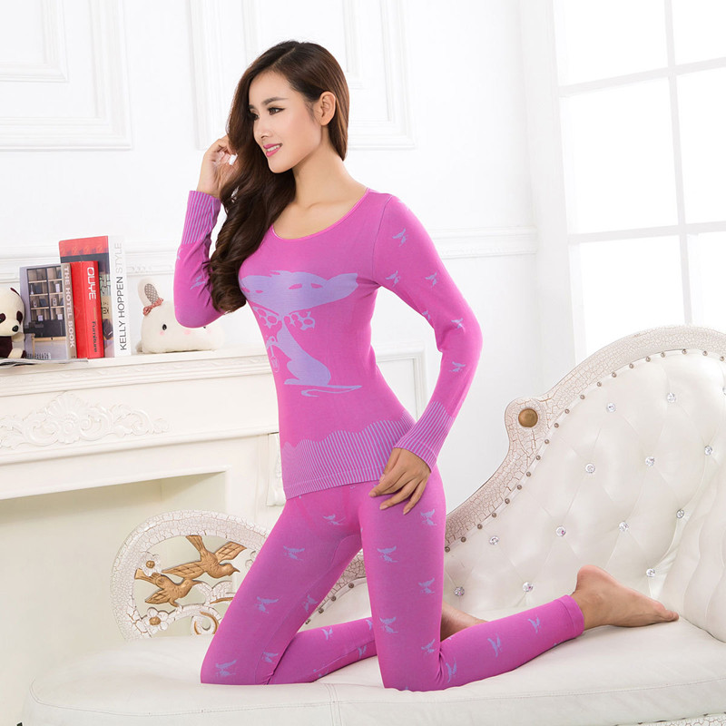 Kawaii Fox Print Women's Thermal Underwear Set O-neck Slim Basic Second Female Thermal Skin Winter Ladies Long Johns Warm Suit