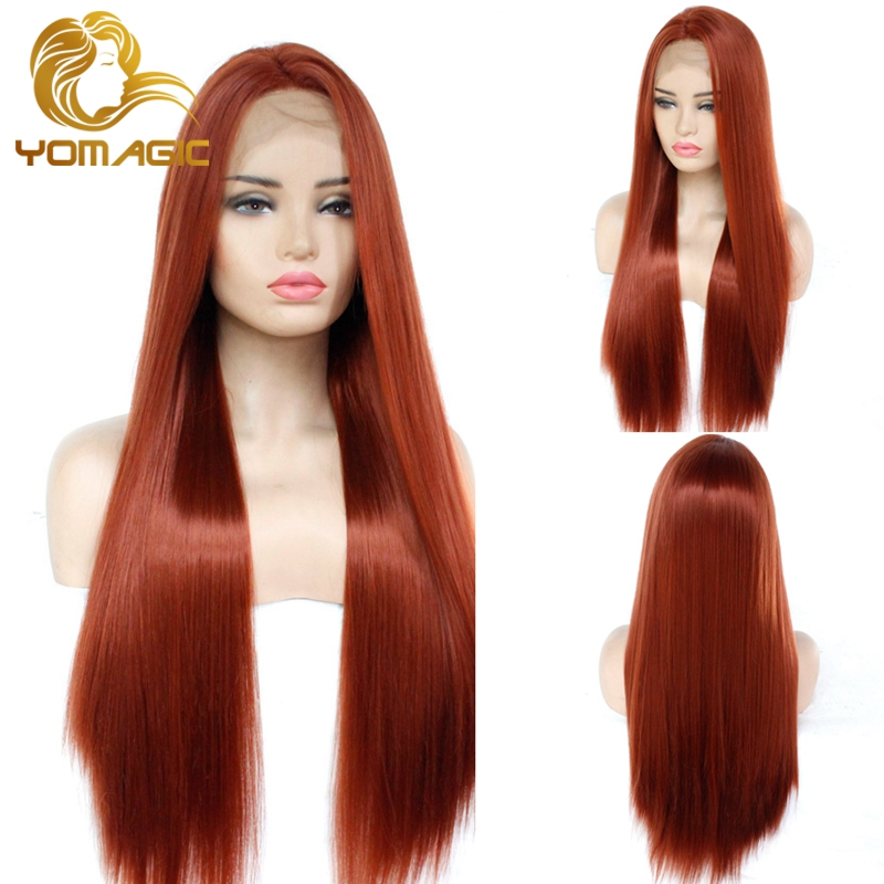 Yomagic Red Brown Color Synthetic Hair Lace Front Wigs For Women 350# Silk Straight Heat Resistant Fiber Glueless Lace Wigs