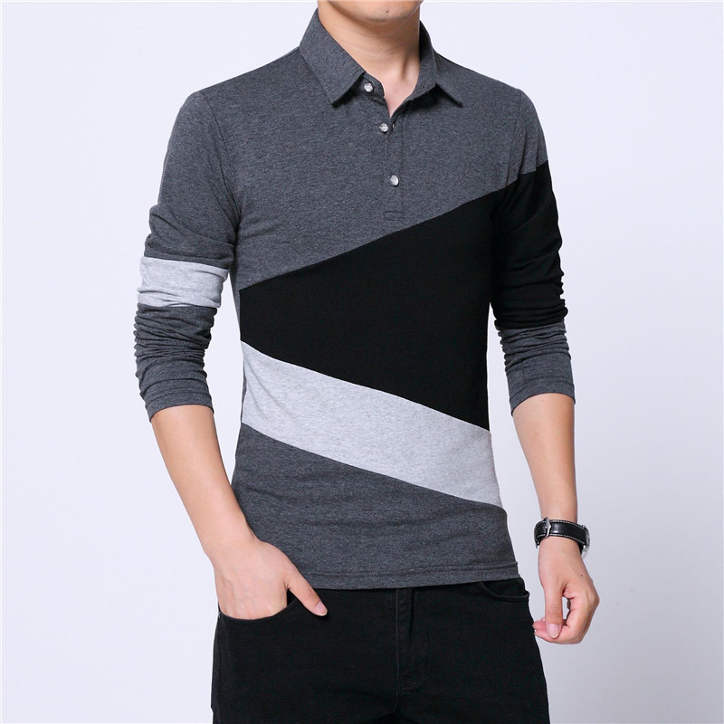 Polo   Shirt Men Clothes Autumn Fashion Plus Size 5XL Mens   Polo   Shirt with Collar Color Patchwork Long Sleeve Streetwear Top