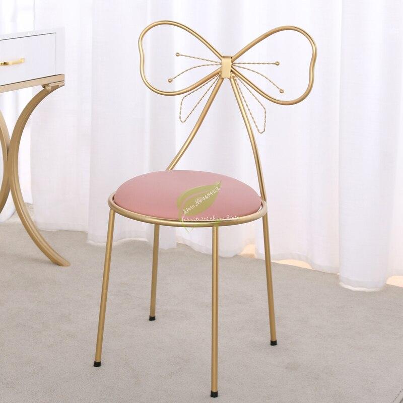 Minimalist Bedroom Makeup Stool Modern Back Chair Bow Dressing Stool Girl Heart Princess Makeup Chair