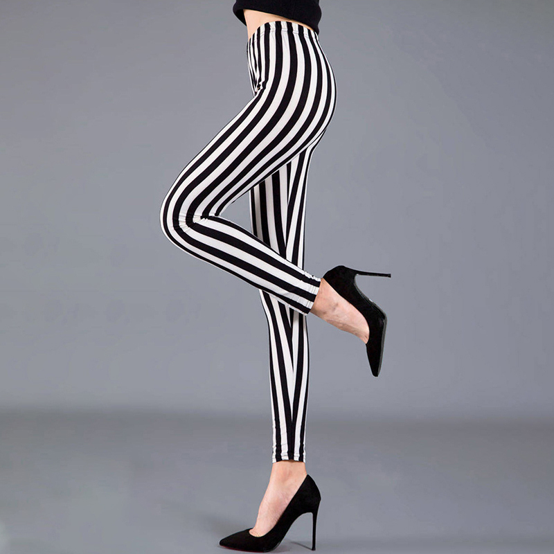 Women Fashion Slim Striped High Waist Tight Leggings Pants Ladies Fitness Casual Stretch Trousers