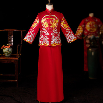 Red Groom Vintage Loose Cheongsam Traditional Chinese Wedding Gown Satin Qipao Embroidery Dragon Costume Vestido Oriental Mens