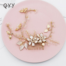 QYY Rhinetone Crystal Flower Wedding Hair Combs Handmade Accessories Jewelry For Bride Bridal Flower Headpiece floral hairwear for bride tiny beaded pearl flower wedding hair jewelry accessories handmade wired bridal headpiece