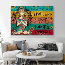Abstract Hippie Yoga Canvas Painting I'm Mostly Peace Love and Light Posters and Prints Wall Art Pictures Home Decoration