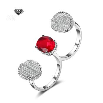 YaYI biżuteria księżniczka Cut 5 2 CT czerwony cyrkon kolor srebrny pierścionki zaręczynowe obrączki ślubne serce regulowane pierścienie pierścionki Party prezenty tanie i dobre opinie yayi jewelry Kobiety Miedzi Cyrkonia Prong ustawianie Moda TRENDY Zespoły weselne Geometryczne 20mm Zaręczyny HR1361