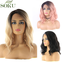 Ombre Blonde Synthetic Lace Front Wigs Natural Wave Shoulder Length Short Bob