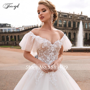 Image 3 - Traugel V Neck A Line Lace Wedding Dresses Applique Off Shoulder Backless Flower Bride Dresses Long Train Bridal Gown Plus Size