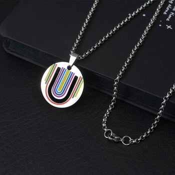 Wukaka Fashion Rainbow Gay Pride LGBT Necklace Windmill Square Girl Boy Symbol Stainless Steel Necklaces Men Jewelry 10
