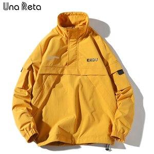 Image 4 - Una Reta Jackets Mens New Hip Hop Brand Thin Tracksuit Coat Fashion Casual Streetwear Man Pattern Stitching Baseball Jacket