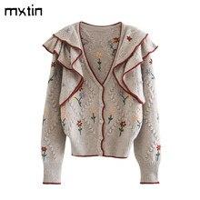 Vintage şık çiçek fırfır İşlemeli hırka kazak kadınlar 2020 moda ilkbahar ve sonbahar sıcak Suterwear Casual Tops