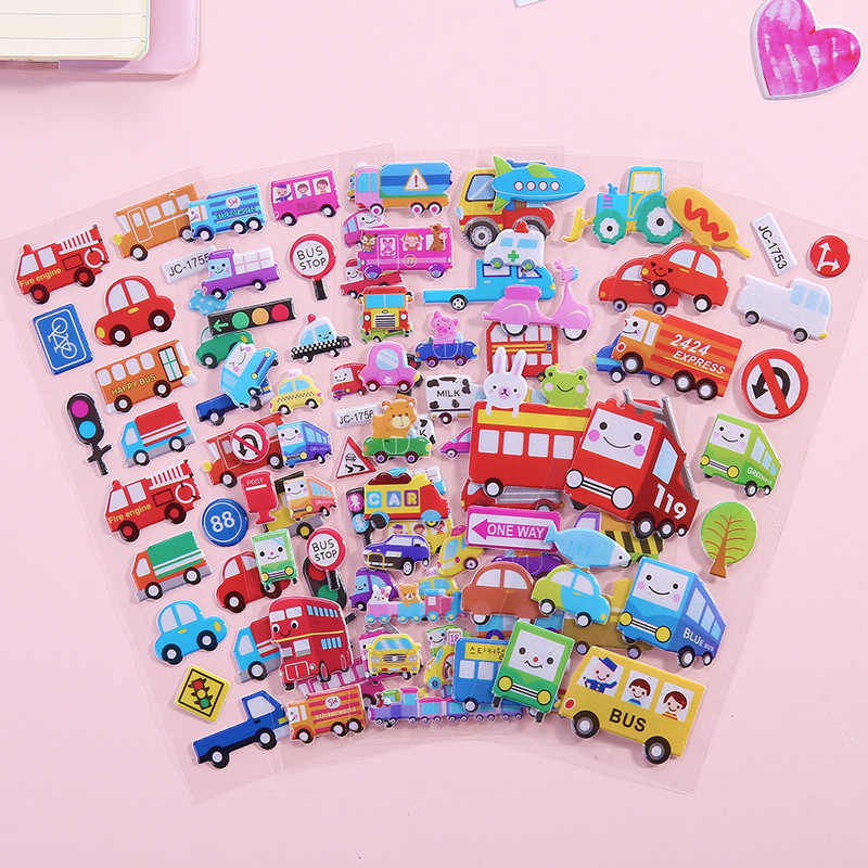 1 Vel Dimensionale 3D Cartoon Stickers Waterdichte Bubble Pvc Diy Sticker Prinses Auto Meisjes Jongens Kids Kinderen Geschenken