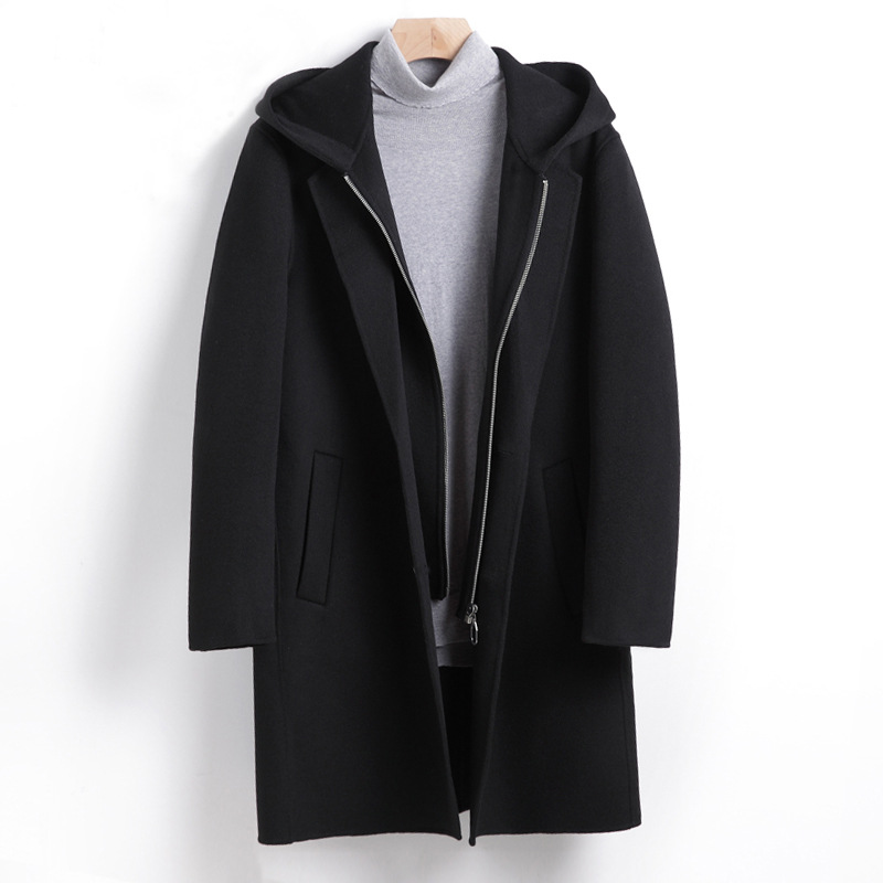 Autumn Winter Thick Woolen Coat Male Long Sleeve Detachable Hood Black Hooded Overcoat Men Oversized Men Wool Blend Coat 4xl 3xl