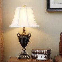 Lámparas de Mesa de resina marrón vintage europeas Interruptor táctil clásico rural lámpara LED de tela blanca E27 para cabecera y vestíbulo y estudio SJBN015