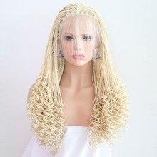 RONGDUOYI высокое Температура волокна волос светлые Синтетический Синтетические волосы на кружеве парики для Для женщин косы светлые Плетеный 13x3 lace