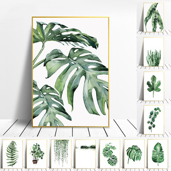 Nordic Art Tropical Plants Scandinavian Poster Green Leaves Decorative Picture Modern Wall Art Canvas Paintings Home Decoration tropical plant nordic poster home decoration scandinavian green leaves decorative picture modern wall art canvas painting