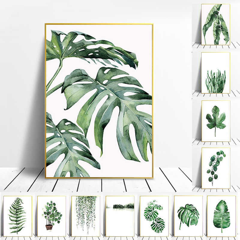 Nordic Tropical Plants Scandinavian Poster Green Leaves Decorative Picture Modern Wall Art Canvas Paintings Home Decoration