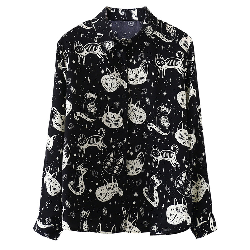 Cute Cat Print Shirts Women Harajuku Gothic Kitten Long Sleeve Loose Blouse Fashion Autumn Street Casual Femme Shirt Black White